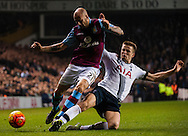 Eric Dier of Tottenham Hotspur makes a tackle on Allen Hutton of Aston Villa  during the Barclays Premier League match at White Hart Lane, London<br /> Picture by Jack Megaw/Focus Images Ltd +44 7481 764811<br /> 02/11/2015