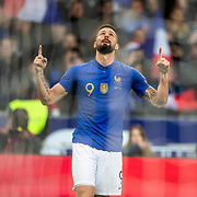 PARIS, FRANCE - March 25: Olivier Giroud #9 of France celebrates after scoring during the France V Iceland, 2020 European Championship Qualifying, Group Stage at  Stade de France on March 25th 2019 in Paris, France (Photo by Tim Clayton/Corbis via Getty Images)