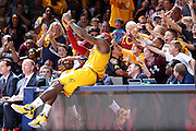 CINCINNATI, OH - OCTOBER 7: LeBron James #23 of the Cleveland Cavaliers takes a selfie with young fans during a timeout in the second half of a preseason game against the Atlanta Hawks at Cintas Center on October 7, 2015 in Cincinnati, Ohio. The Hawks defeated the Cavaliers 98-96. (Photo by Joe Robbins)