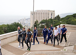HAIFA, ISRAEL - Saturday, March 28, 2015: Wales' James Collins, Chris Gunter, captain Ashley Williams, Gareth Bale and head of fitness and science Ryland Morgans on a team walk ahead of the UEFA Euro 2016 qualifying Group B match against Israel. (Pic by David Rawcliffe/Propaganda)