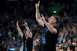 Silvio Ivandija coach HC Prvo Plinarsko Drustvo Zagreb of  during EHF Champions eague 2016/17 handball match between HC Prvo Plinarsko Drustvo Zagreb and RK Celje Pivovarna Lasko, on March 9th, 2017 in Arena Zagreb, Croatia. Photo by Martin Metelko / Sportida