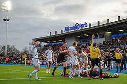 Saracens Prop (#1) Mako Vunipola scores his second try of the match during the second half - Photo mandatory by-line: Rogan Thomson/JMP - Tel: Mobile: 07966 386802 16/02/2013 - SPORT - RUGBY - Allianz Park - Barnet. Saracens v Exeter Chiefs - Aviva Premiership. This is the first Premiership match at Saracens new home ground, Allianz Park, and the first time Premiership Rugby has been played on an artificial turf pitch.