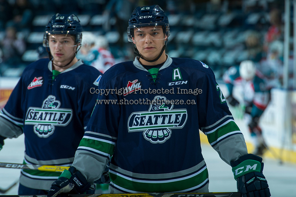KELOWNA, CANADA - APRIL 25: Ethan Bear #25 of the Seattle Thunderbirds stands on the ice during warm up against the Kelowna Rockets on April 25, 2017 at Prospera Place in Kelowna, British Columbia, Canada.  (Photo by Marissa Baecker/Shoot the Breeze)  *** Local Caption ***
