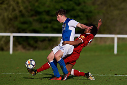 BLACKBURN, ENGLAND - Saturday, January 6, 2018: Blackburn Rovers' Lewis Thompson and Liverpool's Yasser Larouci during an Under-18 FA Premier League match between Blackburn Rovers FC and Liverpool FC at Brockhall Village Training Ground. (Pic by David Rawcliffe/Propaganda)