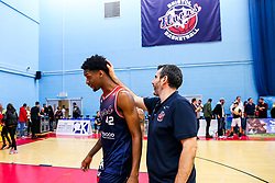 Levi Bradley of Bristol Flyers and Bristol Flyers coach Andreas Kapoulas after Bristol Flyers win 92-72 - Rogan/JMP - 11/10/2019 - BASKETBALL - SGS Wise Arena - Bristol, England - Bristol Flyers v Plymouth Raiders - BBL Cup.