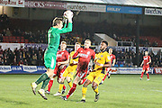 Alfreton Town goalkeeper Fabian Speiss gathers a cross during the The FA Cup match between Newport County and Alfreton Town at Rodney Parade, Newport, Wales on 15 November 2016. Photo by Andrew Lewis.