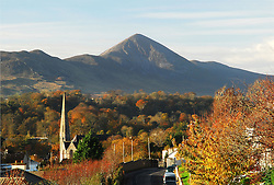 Westport, County Mayo, Autumn Colours,..The View from Horkans Hill, with Holy Trinity and Croagh Patrick..Photo Conor McKeown.