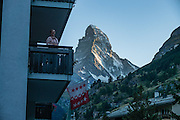 Sunset on the Matterhorn, seen from City Hotel Garni Zermatt, Pennine Alps, Switzerland, Europe.