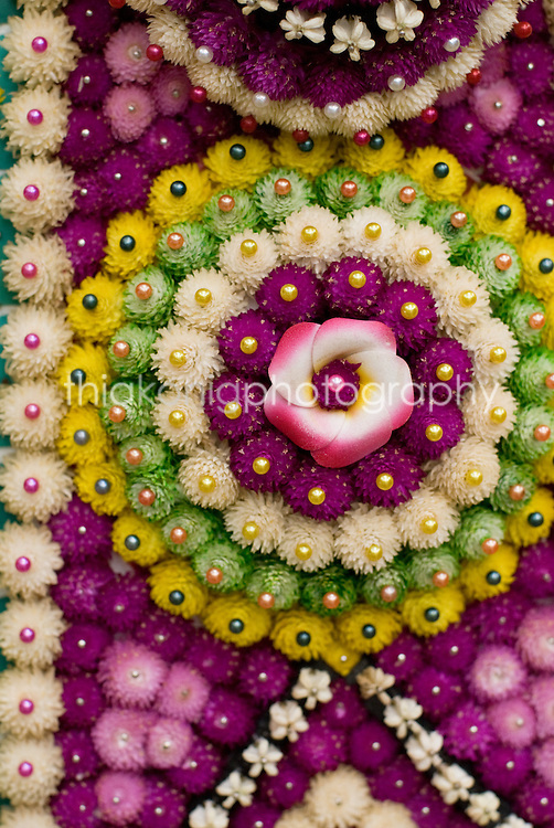 Intricate pattern of decorative flowers, used for ceremony for the Royal Family, Bali