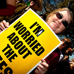 "Washington, DC, October 30, 2010 - Jon Stewert and Steven Colbert host the Rally To Restore Sanity and/or Fear.  Tens of thousands of ralliers donned costumes and carried signs. ""I'M WORRIED ABOUT THE BEES"""