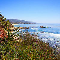 Photo of Laguna Beach California coastline along the Pacific Ocean. Laguna Beach is a seaside beach community in Orange County Southern California.