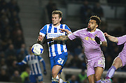 Brighton striker James Wilson & Reading midfielder Daniel Williams battle for possession during the Sky Bet Championship match between Brighton and Hove Albion and Reading at the American Express Community Stadium, Brighton and Hove, England on 15 March 2016. Photo by Bennett Dean.