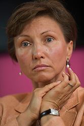 © London News Pictures. 22/07/2014. London, UK. MARINA LITVINENKO speaking at a press conference in London following the British Governments announcement that a public inquiry will be held in to , the death of her husband, former Russian spy, Alexander Litvinenko. The ex-KGB officer was poisoned by a cup of tea laced with the deadly radioactive element polonium 210 during a meeting at a London hotel in 2006. Photo credit : Ben Cawthra/LNP