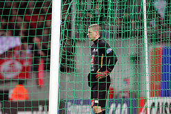 Lille goalkeeper Ludovic Butelle waits in anticipation as Toulouse prepare to take a  penalty during the 1/4 Final of la Coupe de France, Stade Municipal, Toulouse, France, 18th March 2009.