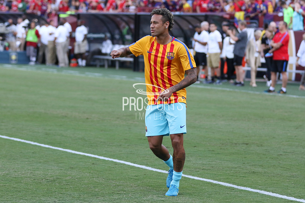 Barcelona Neymar in warm up during the International Champions Cup match between Barcelona and Manchester United at FedEx Field, Landover, United States on 26 July 2017.