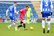 Hartlepool player Rhys Oates looks for space in the first half during the EFL Sky Bet League 2 match between Colchester United and Hartlepool United at the Weston Homes Community Stadium, Colchester, England on 25 February 2017. Photo by Ian  Muir.