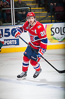 KELOWNA, CANADA - MARCH 7: Calder Brooks #20 of Spokane Chiefs skates against the Kelowna Rockets on March 7, 2015 at Prospera Place in Kelowna, British Columbia, Canada.  (Photo by Marissa Baecker/Shoot the Breeze)  *** Local Caption *** Calder Brooks;