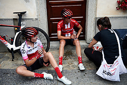 Juliette Labous (FRA) and Lucinda Brand (NED) catch their breath after Stage 3 of 2019 Giro Rosa Iccrea, a 104.7 km road race from Sagliano Micca to Piedicavallo, Italy on July 7, 2019. Photo by Sean Robinson/velofocus.com