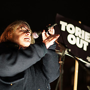 Lindsey German of Stop the War Coalition join the proest ahead of Budget Day against the Government's plans to overhaul the welfare system by forcing people onto Universal Credit outside Downing Street on 21st November 2017,  London, UK.