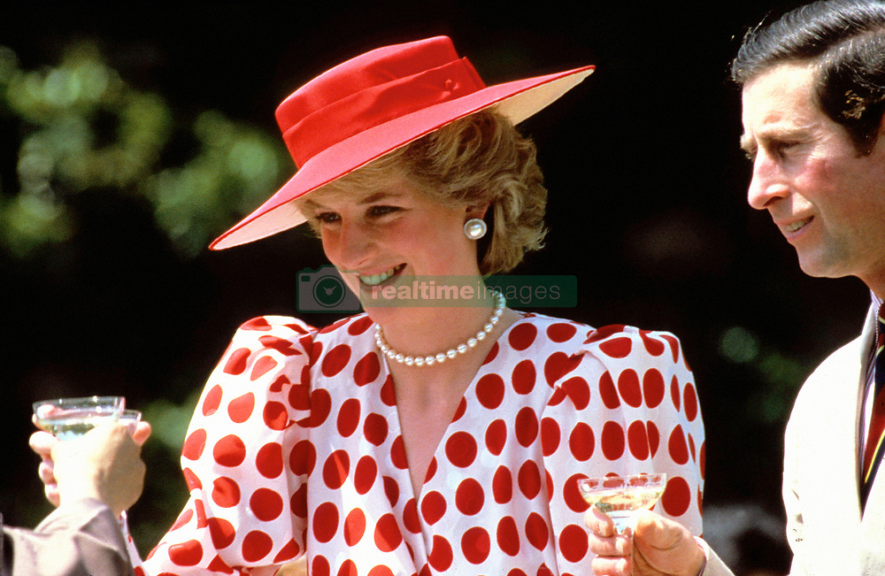 Diana, Princess of Wales wears Rising Sun dress and Frederick Fox straw hat for a trip to Japan in 1986.