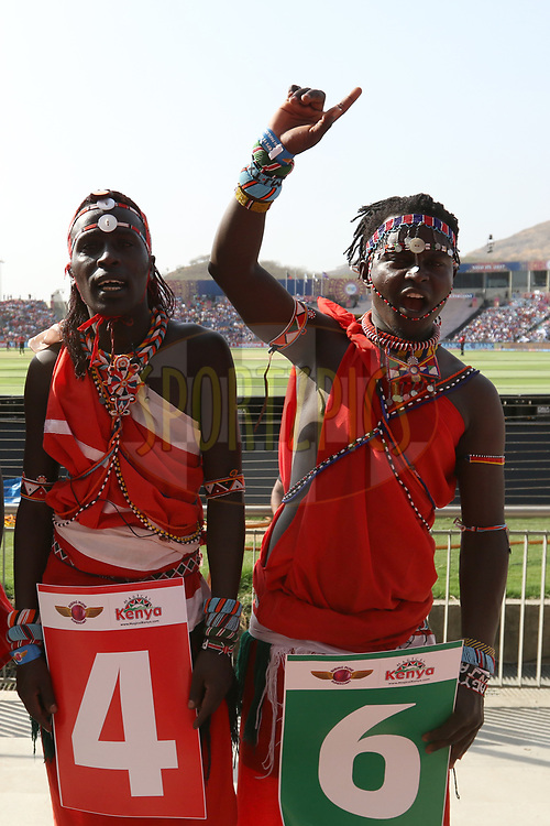 Kenyan tribes Maasai Warriors during match 34 of the Vivo 2017 Indian Premier League between the Rising Pune Supergiants and the Royal Challengers Bangalore   held at the MCA Pune International Cricket Stadium in Pune, India on the 29th April 2017<br /> <br /> Photo by Faheem Hussain - Sportzpics - IPL