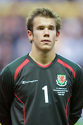 SWANSEA, ENGLAND - Friday, September 4, 2009: Wales' goalkeeper Chris Maxwell during the UEFA Under 21 Championship Qualifying Group 3 match against Italy at the Liberty Stadium. (Photo by David Rawcliffe/Propaganda)