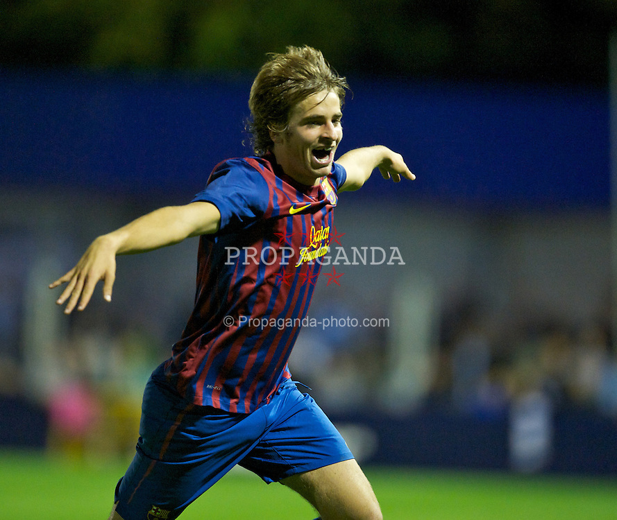 HYDE, ENGLAND - Thursday, September 15, 2011: FC Barcelona's Miguel Angel Sainz Maza celebrates scoring the second goal against Manchester City during the NextGen Series Group 1 match at Ewen Fields. (Pic by David Rawcliffe/Propaganda)