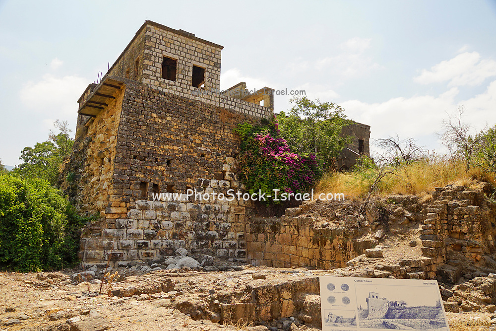 Corner Tower. Stratigraphic representation of the history of the site Roman (foreground) Crusader (bottom) Ottoman (centre) and modern Syrian structure on top. Photographed at the Hermon Stream Nature reserve and Archaeological Park (Banias) Golan Heights Israel