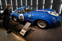 "© Licensed to London News Pictures. 14/11/2017. London, UK.  A Ferrari 250 GT Sperimentale, 1961.  Preview of ""Ferrari: Under the Skin"", an exhibition at the Design Museum to mark the 70th anniversary of Ferrari.  Over GBP140m worth of Ferraris are on display from private collections including Michael Schumacher's 2000 F1 winning car.  The exhibition runs 15 November to 15 April 2018.  Photo credit: Stephen Chung/LNP"