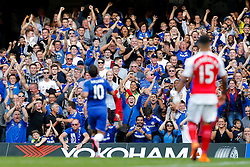 Chelsea fans celebrate after Eden Hazard (pictured) scores a goal to make it 2-0 - Mandatory byline: Rogan Thomson/JMP - 07966 386802 - 19/09/2015 - FOOTBALL - Stamford Bridge Stadium - London, England - Chelsea v Arsenal - Barclays Premier League.