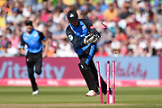 Ben Cox of Worcestershire Rapids takes off the bails as Steve Mullaney is run out during the Vitality T20 Finals Day 2019 match between Notts Outlaws and Worcestershire Rapids at Edgbaston, Birmingham, United Kingdom on 21 September 2019.