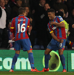 Crystal Palace's Dwight Gayle and Fraizer Campbell celebrate - Photo mandatory by-line: Robbie Stephenson/JMP - Mobile: 07966 386802 - 14/02/2015 - SPORT - Football - London - Selhurst Park - Crystal Palace v Liverpool - FA Cup - Fifth Round