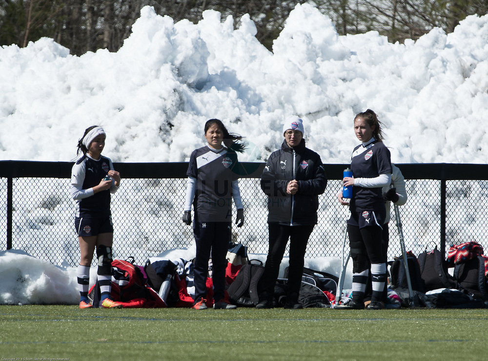NEFC Spring Showcase & Tournament.  Cecelia, Ainsley, Coach, Christiana, Vicky (hiding) and snowbank.