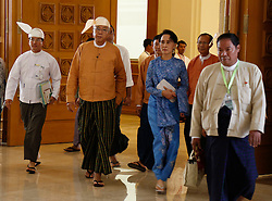 Newly-elected president of Myanmar U Htin Kyaw (2nd L) attends a session of Myanmar Union Parliament in Nay Pyi Taw, Myanmar, March 30, 2016. U Htin Kyaw of the National League for Democracy (NLD), led by Aung San Suu Kyi, was sworn in on Wednesday as Myanmar's new president. EXPA Pictures © 2016, PhotoCredit: EXPA/ Photoshot/ U Aung<br /> <br /> *****ATTENTION - for AUT, SLO, CRO, SRB, BIH, MAZ, SUI only*****