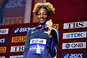 Nia Ali (USA) poses with gold medal after winning the women's 100m hurdles in 12.34 during the IAAF World Athletics Championships, Sunday, Oct.. 6, 2019, in Doha, Qatar. (Jiro Mochizuki/Image of Sport)