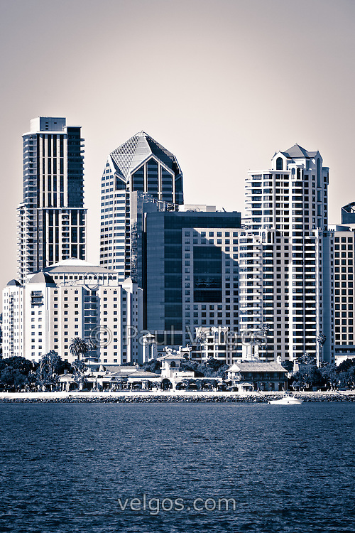 San Diego skyline photo black and white toned with downtown city buildings along the San Diego Bay waterfront in Southern California.