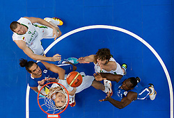 Robertas Javtokas of Lithuania, Darius Songaila of Lithuania and Simas Jasaitis of Lithuania vs Joakim Noah of France and Florent Pietrus of France during basketball game between National basketball teams of Lithuania and France at FIBA Europe Eurobasket Lithuania 2011, on September 9, 2011, in Siemens Arena,  Vilnius, Lithuania. France defeated Lithuania 73-67.  (Photo by Vid Ponikvar / Sportida)