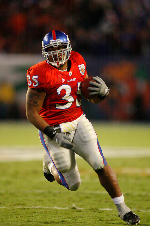 January 3, 2008 - Miami Gardens, FL<br /> <br /> Brandon McAnderson #35 of the Kansas Jayhawks in action during Kansas' 24-21 victory over Virginia Tech in the 2008 Orange Bowl Classic at Dolphin Stadium in Miami Gardens, Florida.<br /> <br /> JC Ridley/CSM
