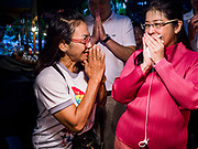 05 JANUARY 2019 - MINBURI, BANGKOK, THAILAND: SUDARAT KEYURAPHAN (pink blouse, right), the Pheu Thai Party candidate for Prime Minister of Thailand, meets voters at the Kwan Riam Floating Market at Wat Bamphen Nuea in Minburi, east of downtown Bangkok. The Thai government has tentatively scheduled a general election for 24 February 2019. It will be Thailand's first election since a military coup overthrew the government of Yingluck Shinawatra in 2014. Yingluck was a the leader of the Pheu Thai Party before her ouster. Sudarat was a member of Thaksin Shinawatra's cabinet. Thaksin's government was also deposed by a coup in 2006.        PHOTO BY JACK KURTZ