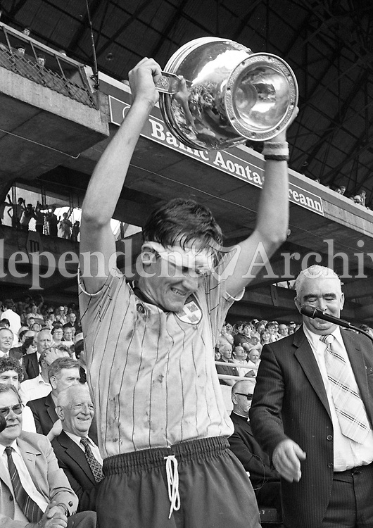 John Murphy Dublin Minor Captain with The Hanrahan Cup after defeating Wexford in the Leinster Minor Hurling Final at Croke Park, Dublin, 16/07/1983 (Part of the Independent Newspapers Ireland/NLI Collection).