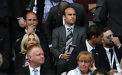 Former USA player Landon Donovan, now Swansea City consultant and minor shareholder, at the Premier League club in the directors box during the Premier League match at the Liberty Stadium, Swansea.