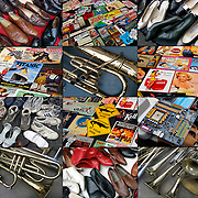 Collage of nine photographs of different  rows objects found on tables in flea market for sale