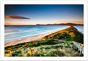 """Early morning view over """"The Neck"""" and Adventure Bay, from the Bruny Island Neck lookout [Bruny Island, Tasmania]<br /> <br /> Image ID: 207306. Order by email to orders@girtbyseaphotography.com quoting the image ID, preferred print size & media. Current standard size prices are published on the Pricing page. Custom sizes also available."""