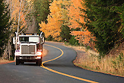 A backroad curves through  an autumn forest in rural Klickitat County near Glenwood, WA, USA