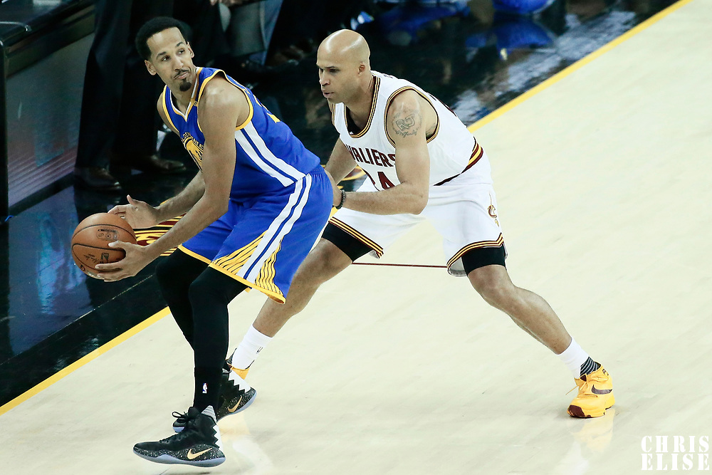 07 June 2017: Cleveland Cavaliers forward Richard Jefferson (24) defends on Golden State Warriors guard Shaun Livingston (34) during the Golden State Warriors 118-113 victory over the Cleveland Cavaliers, in game 3 of the 2017 NBA Finals, at  the Quicken Loans Arena, Cleveland, Ohio, USA.