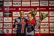 #24 (SHARRAH Corben) USA [Daylight, Faith, Avian] and #110 (SMULDERS Laura) NED TVE Meybo win Round 7 of the 2019 UCI BMX Supercross World Cup in Rock Hill, USA