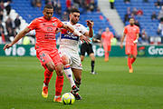 Alexander Djiku of Caen and Jordan Ferri of Lyon during the French Championship Ligue 1 football match between Olympique Lyonnais and SM Caen on march 11, 2018 at Groupama stadium in Decines-Charpieu near Lyon, France - Photo Romain Biard / Isports / ProSportsImages / DPPI