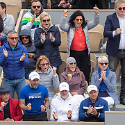 PARIS, FRANCE June 08.  The team of Novak Djokovic including wife Jelena Dokovic watching  Novak Djokovic of Serbia in action against Dominic Thiem of Austria on Court Philippe-Chatrier during the Men's Singles Semifinals match at the 2019 French Open Tennis Tournament at Roland Garros on June 8th 2019 in Paris, France. (Photo by Tim Clayton/Corbis via Getty Images)