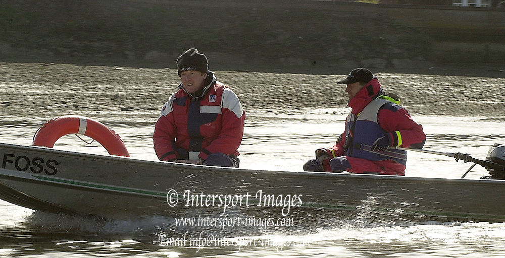 2003 - Rowing - 149th Varsity Boat Race - Tideway Week <br /> 03/04/03 Cambridge Blue Boat, Chief coach,Right, Robin William, and Martin McElroy [Mandatory Credit; Peter Spurrier/Intersport Images]
