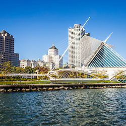 Milwaukee skyline photo. Picture includes the Milwaukee Art Museum, University Club Tower, and Northwestern Mutual Tower, Milwaukee lakefront. Photo is high resolution.